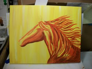 Apply 3 colors - red, yellow and burnt sienna