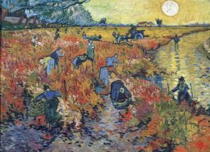 Painting The Red Vineyard at Arles by Van Gogh